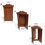 Elegant Victorian carved cupboard with a hidden escape door for 1:12 dollhouse miniature